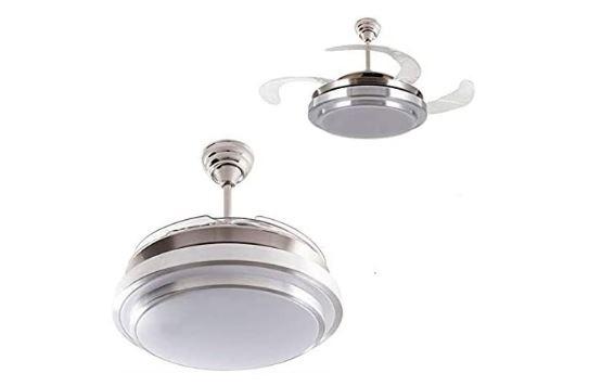 ventilador de techo con aspas retráctiles y LED